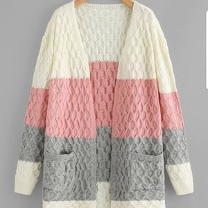 Sweaters - Color-block Pocket Patched Cable Knit Cardigan